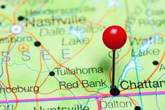 Red Bank pinned on a map of Tennessee, USA Stock Photos