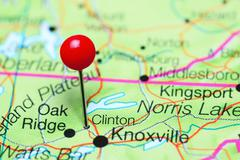Clinton pinned on a map of Tennessee, USA Stock Photos