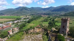 Aerial view of Caprona Tower in Pisa, Italy Stock Footage