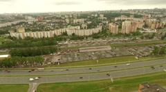 Aerial view of a typical residential area in a typical soviet town Stock Footage