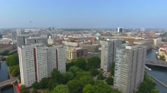 Panoramic aerial view of Berlin buildings over Spree river Stock Footage