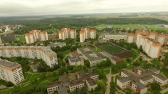 Overview of a typical residential area in a typical soviet town from the sky Stock Footage