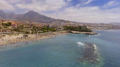 Playa de las Americas in Tenerife, aerial view of Canary Islands Stock Footage
