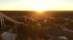 Sunset over the ski sport center,aerial footage Stock Footage