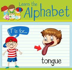 Flashcard alphabet T is for tongue Stock Illustration