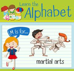 Flashcard letter M is for martial arts Stock Illustration