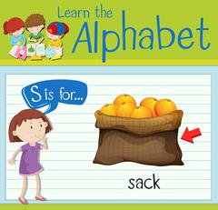 Flashcard letter S is for sack Stock Illustration