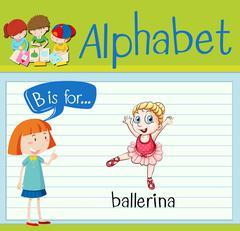 Flashcard letter B is for ballerina Stock Illustration