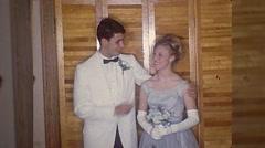 Teen Couple Shy Kids 1st Date Senior Prom Vintage Film Home Movie  Stock Footage