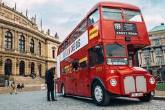 Prague, Czech Republic - OCTOBER 15 : Famous London red bus AEC Routemaster as a Stock Photos