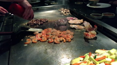 Japanese Hibachi Meats Stock Footage