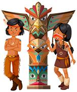Two native americans and totem pole Stock Illustration