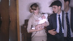 Young Teenage Parents Holding New Baby Boy 1960s Vintage Film Home Movie  Stock Footage