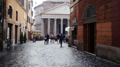 Rome the exit from the streets to the Pantheon Stock Footage