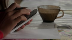 Сhild was drawing from mobile tablet. Emotional hand gestures with a pencil and  Stock Footage