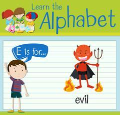 Flashcard alphabet E is for evil Piirros