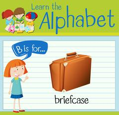 Flashcard letter B is for briefcase Stock Illustration