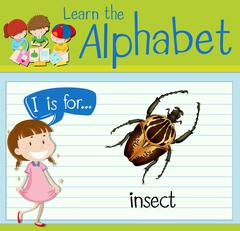 Flashcard letter I is for insect Stock Illustration