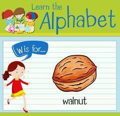 Flashcard alphabet W is walnut Stock Illustration