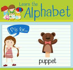 Flashcard letter P is for puppet Stock Illustration