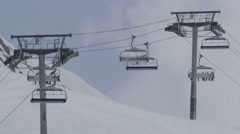 Installation of the ropeway leading to the upper end of the ski pistes on mou Stock Footage