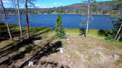 Drone footage of Lyman Lake in Utah Stock Footage