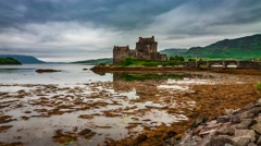 Tides in the lake at Eilean Donan Castle, Scotland, 4k, timelapse Stock Footage