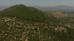 Aerial view of the summer mountains landscape near the Temple of Artemis Stock Footage