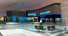 The interior of the shopping center, a cinema Imax, panoramic aquarium Stock Footage