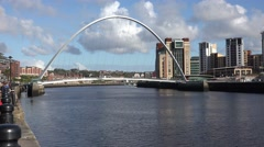 Gateshead Millennium Bridge in day time, Newcastle, United Kingdom Stock Footage
