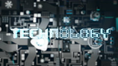 Technology Concept with dark futuristic circuit board Stock Footage