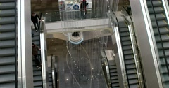 Six escalators moving on different floors, the view from the top Stock Footage