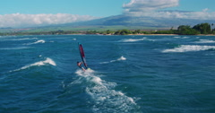 Aerial View of Windsurfing Stock Footage