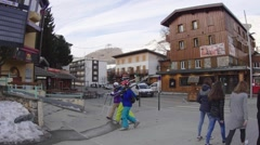 Tourists who walks the streets of a mountain resort  Stock Footage