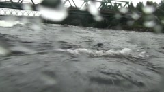 River. Thresholds. Waves. The boat moves in the river by the stormy waves. Stock Footage