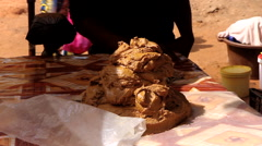 Caju seller in city market -Bandim Guinea Africa Stock Footage