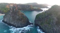 Between Gigantic Rocky Brazilian Islands Cliffs at Sunrise Stock Footage