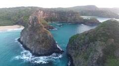 Between Gigantic Rocky Brazilian Islands Cliffs at Sunrise 003 Stock Footage