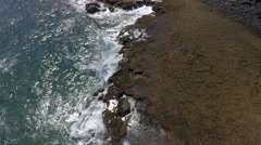 Birds Eye View Exotic Brazilian Beach With Crashing Waves 003 Stock Footage