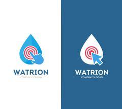 Vector drop and click logo combination. Aqua and cursor symbol or icon. Unique Stock Illustration