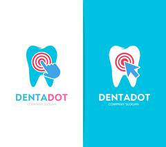 Vector tooth and click logo combination. Dental clinic and cursor symbol or icon Stock Illustration