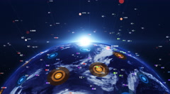 Shiny blue world slowly appearing. Technology related concept. Stock Footage