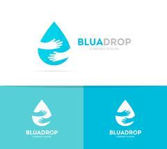 Vector drop and hands logo combination. Aqua and embrace symbol or icon. Unique Stock Illustration