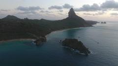Brazilian Island Coastline and Boats Stock Footage