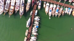 Top view marina aerial yacht business boat harbor luxury tourism coastline Stock Footage