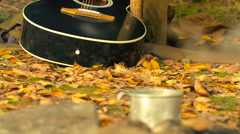Boiling water and white steam from cezve on campfire in defocus. Slider shot. Stock Footage