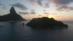 Brazilian Island Revealing Stunning Sunrise and Boats Stock Footage