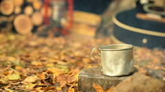 Cezve with hot coffee (tea) on the campfire. Slider shot. Stock Footage