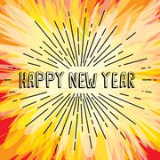 Happy new year text show sunrays retro theme Stock Illustration