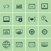 Set Of Marketing Icons On Website Performance, Market Research And Focus Grou Stock Illustration